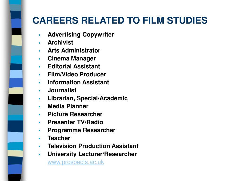 CAREERS RELATED TO FILM STUDIES