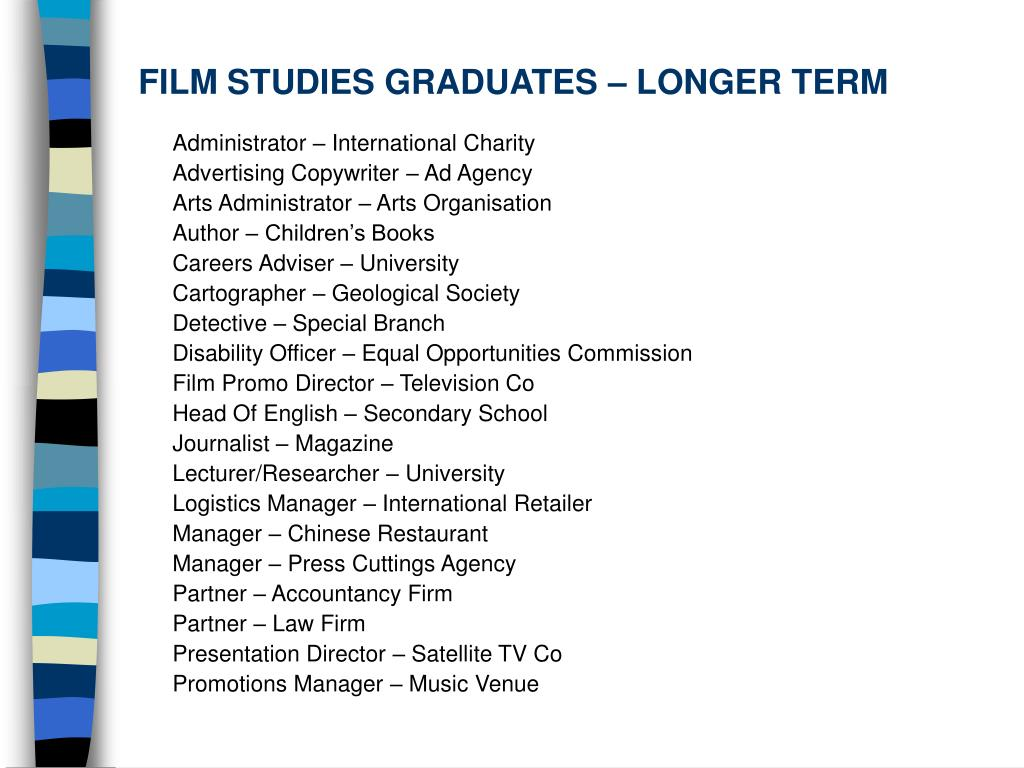 FILM STUDIES GRADUATES – LONGER TERM