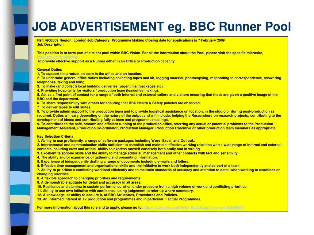 JOB ADVERTISEMENT eg. BBC Runner Pool