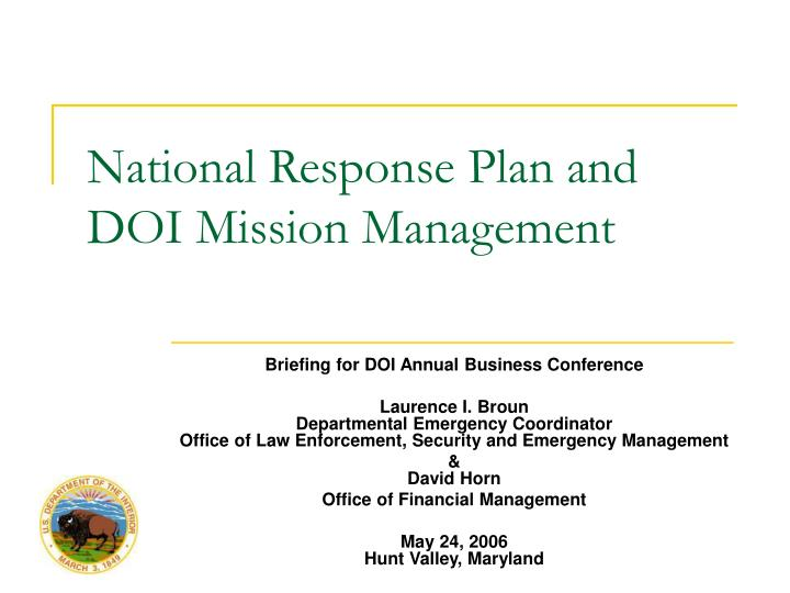 National response plan and doi mission management