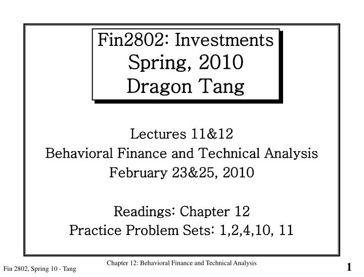 fin2802 investments spring 2010 dragon tang n.