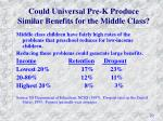 could universal pre k produce similar benefits for the middle class