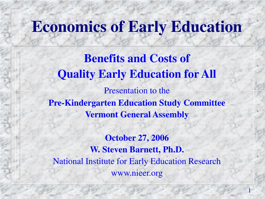 Economics of Early Education
