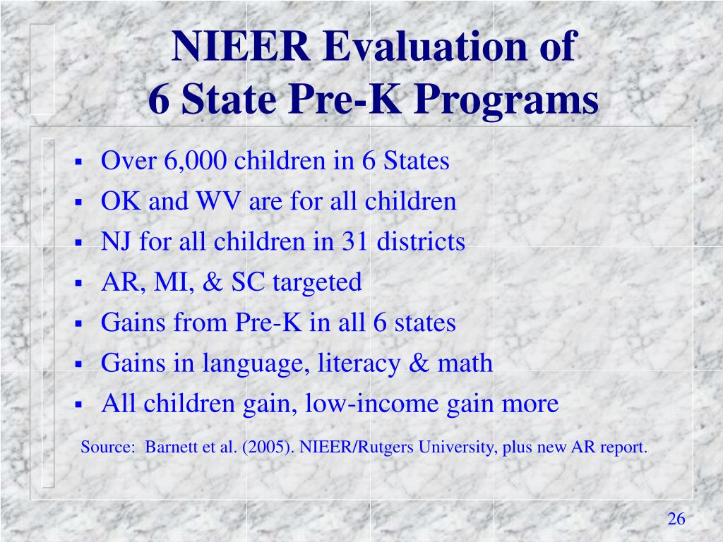 NIEER Evaluation of