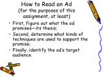 how to read an ad for the purposes of this assignment at least
