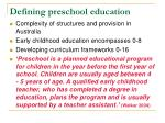 defining preschool education