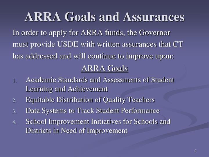 Arra goals and assurances