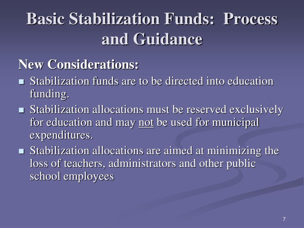 Basic Stabilization Funds:  Process and Guidance