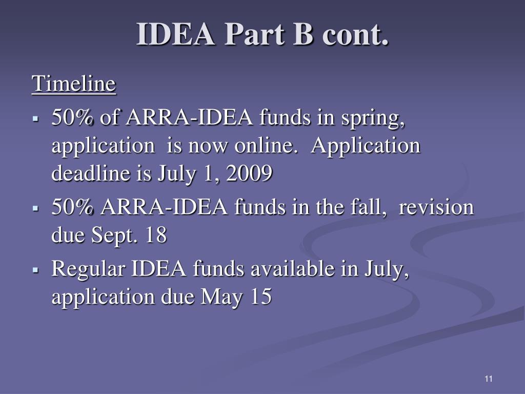 IDEA Part B cont.