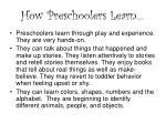 how preschoolers learn