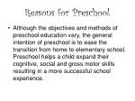 reasons for preschool