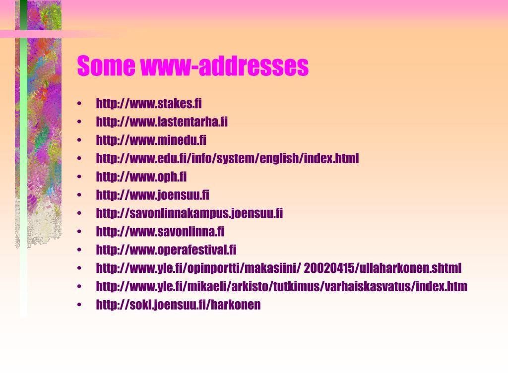 Some www-addresses