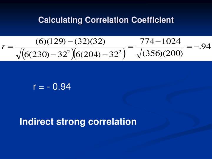 Calculating Correlation Coefficient