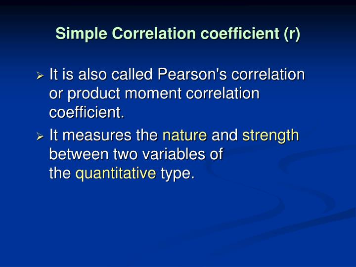 Simple Correlation coefficient
