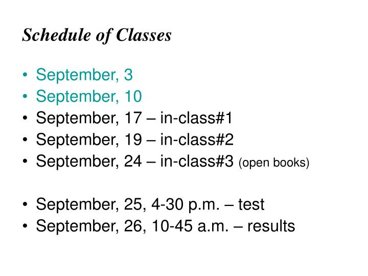 schedule of classes n.