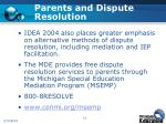 parents and dispute resolution