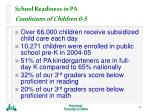 school readiness in pa conditions of children 0 521