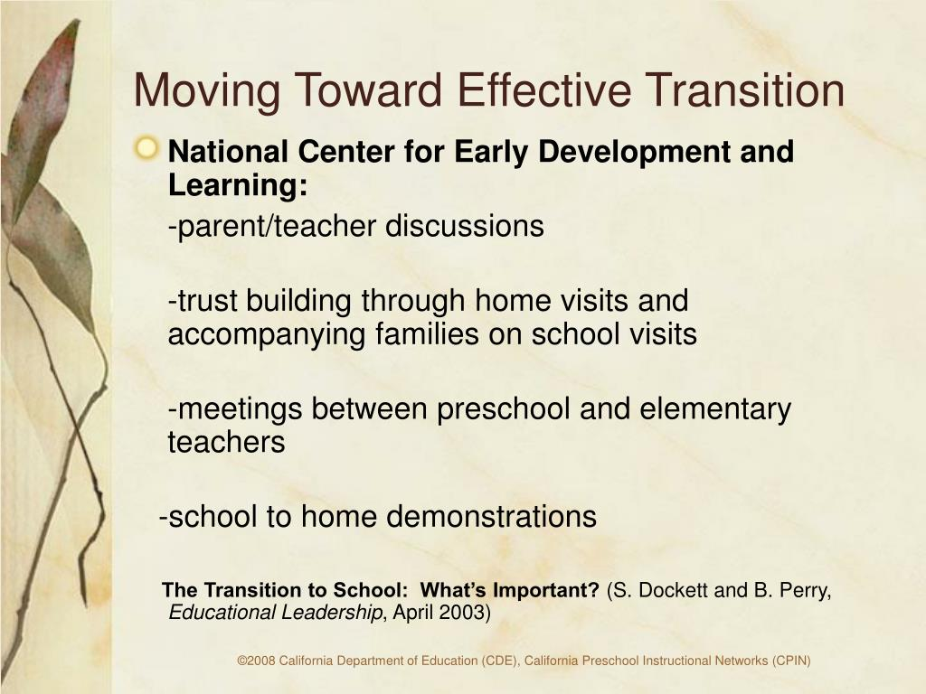 Moving Toward Effective Transition