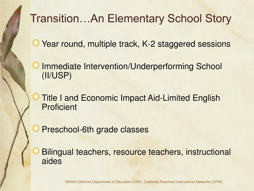 Transition…An Elementary School Story