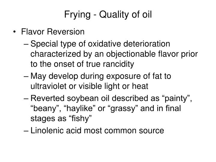 Frying - Quality of oil