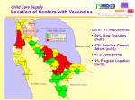 child care supply location of centers with vacancies