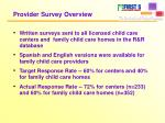 provider survey overview