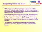 responding to parents needs