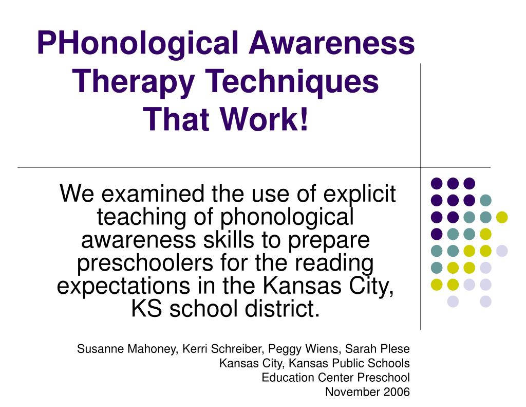 phonological awareness therapy techniques that work l.