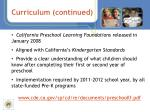 curriculum continued