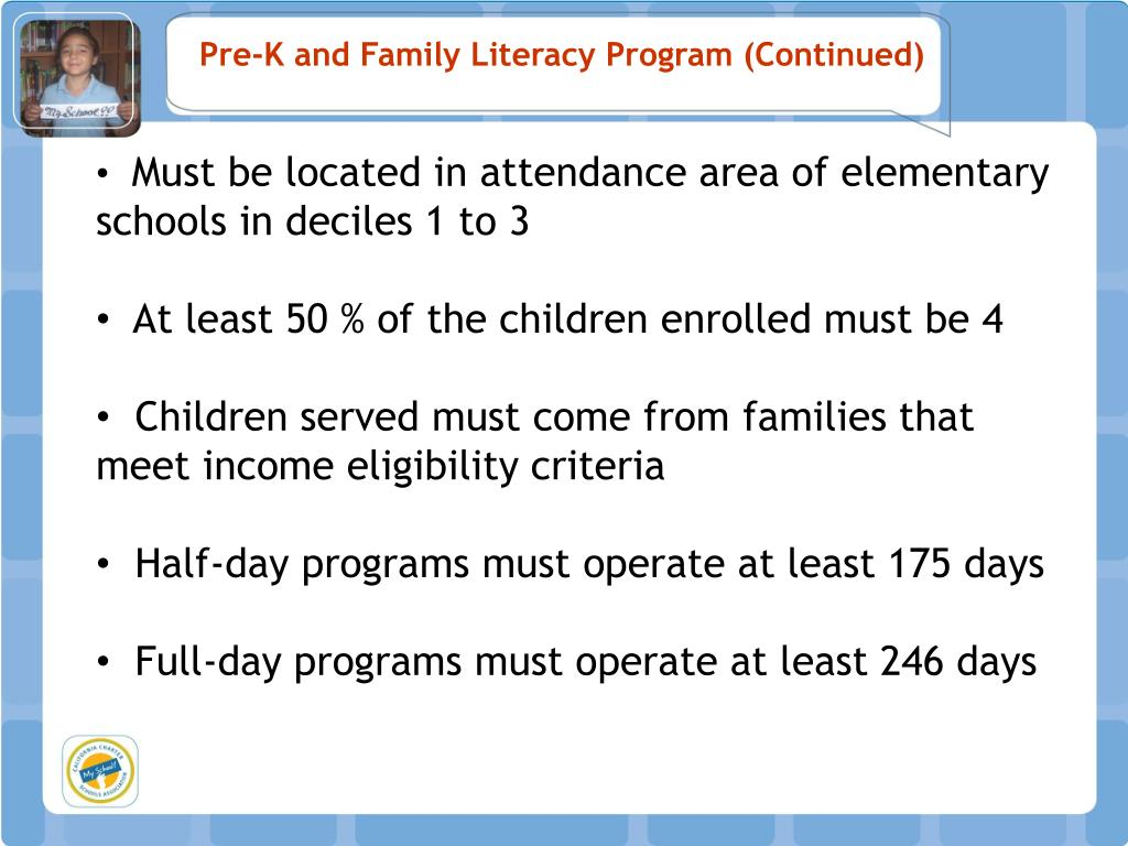 Pre-K and Family Literacy Program (Continued)