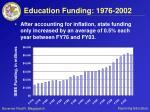education funding 1976 2002