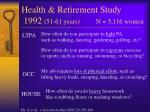 health retirement study 1992 51 61 years n 5 116 women