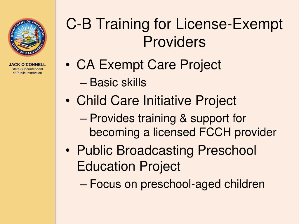 C-B Training for License-Exempt Providers