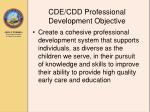 cde cdd professional development objective