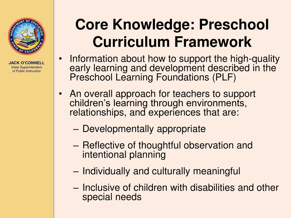 Core Knowledge: Preschool Curriculum Framework