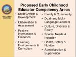 proposed early childhood educator competency areas