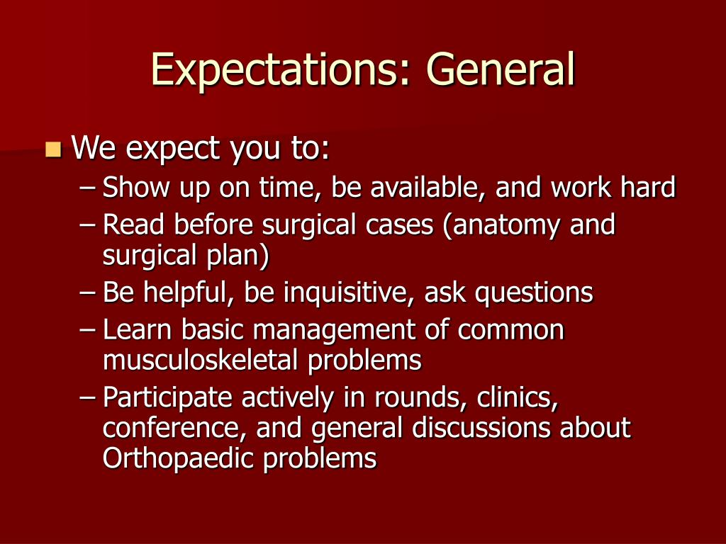 Expectations: General
