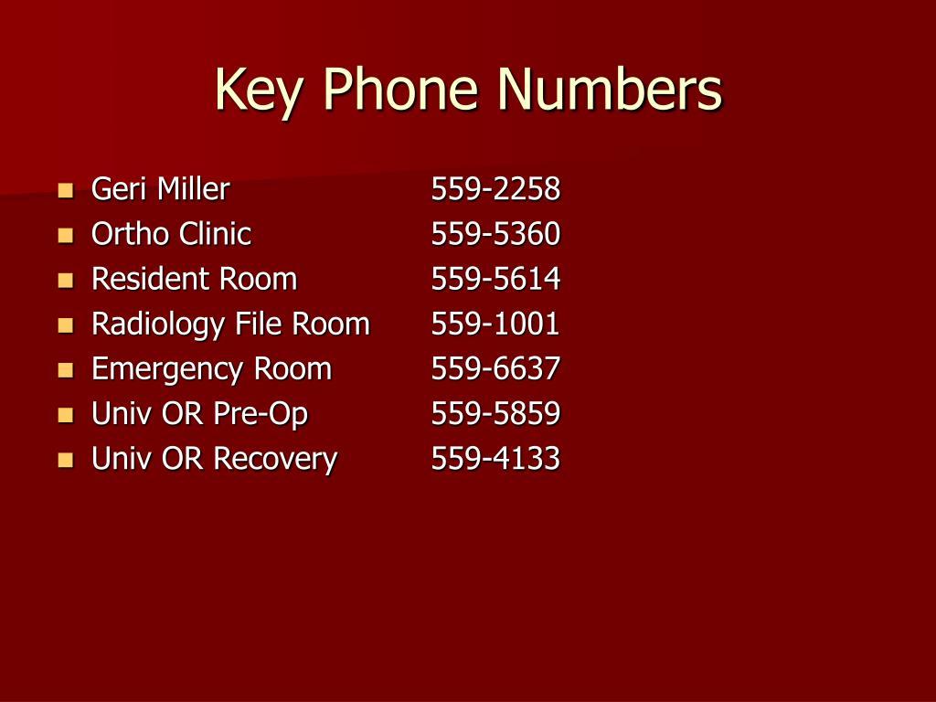 Key Phone Numbers