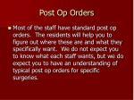 post op orders