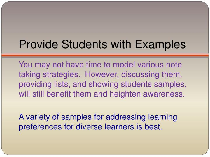 Provide Students with Examples