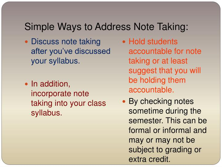 Simple Ways to Address Note Taking: