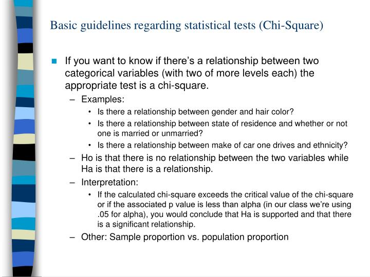 basic guidelines regarding statistical tests chi square n.