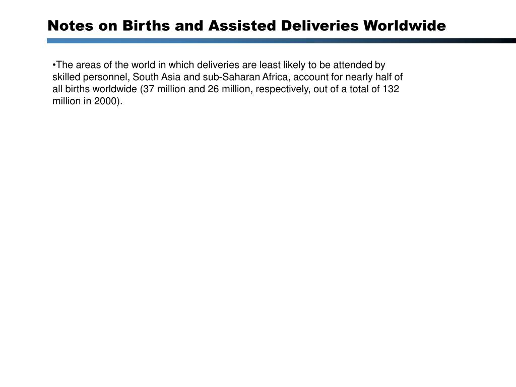The areas of the world in which deliveries are least likely to be attended by skilled personnel, South Asia and sub-Saharan Africa, account for nearly half of all births worldwide (37 million and 26 million, respectively, out of a total of 132 million in 2000).