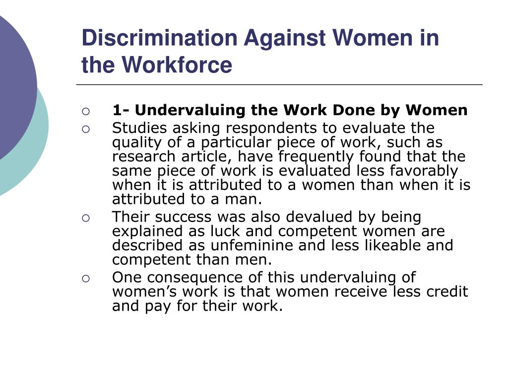 Discrimination Against Women in the Workforce