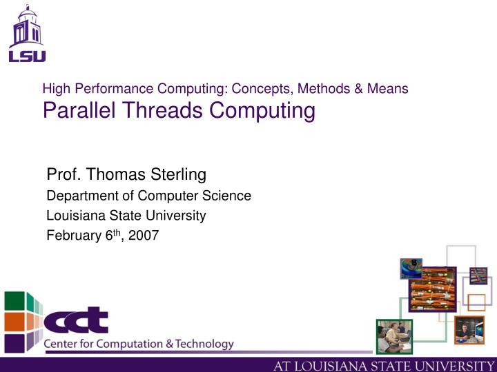 high performance computing concepts methods means parallel threads computing n.