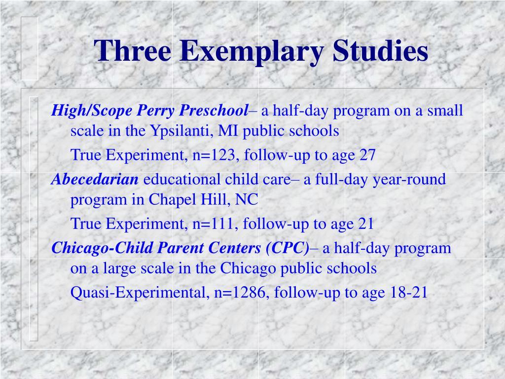 Three Exemplary Studies