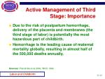 active management of third stage importance