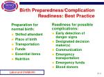 birth preparedness complication readiness best practice