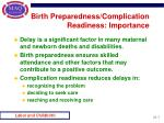 birth preparedness complication readiness importance