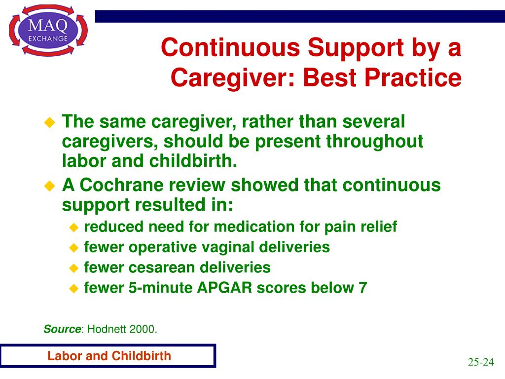 Continuous Support by a Caregiver: Best Practice